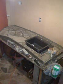 hobbit house construction formwork concrete dome concrete countertop with stone enlay