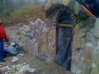 hobbit house construction formwork concrete dome entrance walls